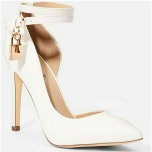 JustFab White Faux Leather Pumps